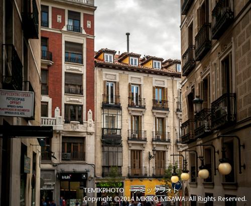 マドリード中心街の赤茶の瓦屋根と煙突(中央) 13840