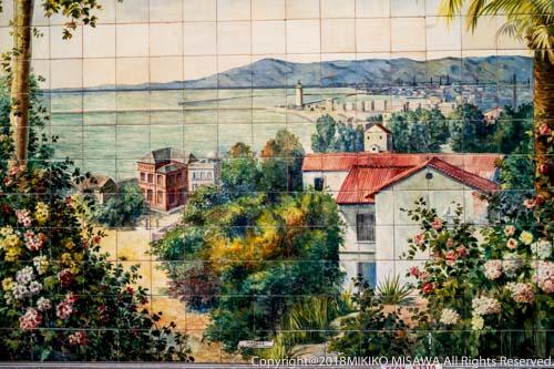 タブラオ・フラメンコ「ビジャ・ロサ」外壁 絵タイル(アンダルシア地方 地中海都市 マラガの風景)(マドリード)  28843